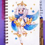 Watercolor chibi Paimon - Genshin Impact by Inntary
