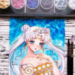 Watercolor fanart - Sailor Moon Neo Queen Serenity by Inntary
