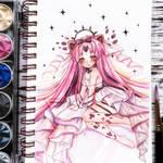 Watercolor chibi artwork - pastel neko