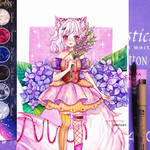 Watercolor pastel neko artwork - Azumi by Inntary