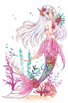Mermay watercolor mermaid - Roses are red