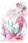 Mermay watercolor mermaid - Roses are red by Inntary
