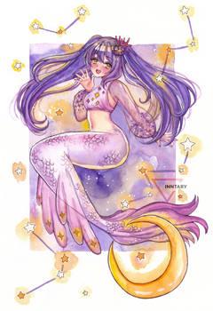 Mermay watercolor mermaid - Violet night
