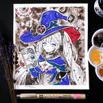 Inktober witch art - Genshin Impact - Mona by Inntary
