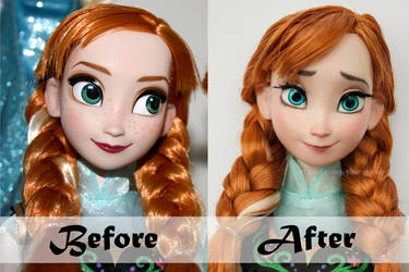 Disney Anna Doll Repaint   Before - After