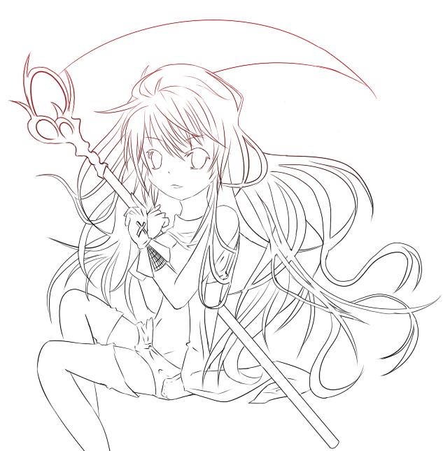 Anime Girl Lineart : Anime scythe girl lineart by clohart on deviantart