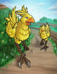Chocobos with Speed Drawing! by KristKC