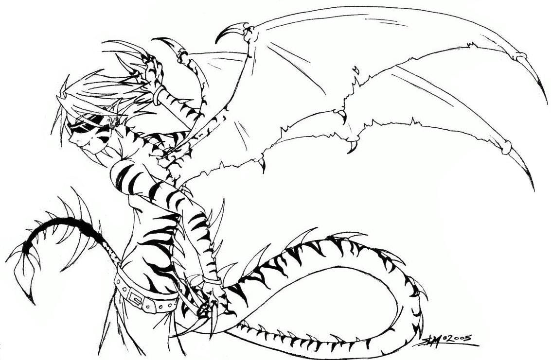 Anthro Dragon Boy Dragon Boy Line Art by