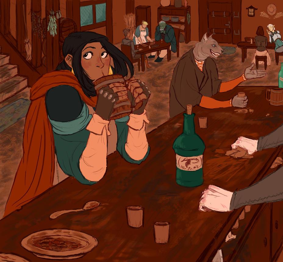 In inn in Tamriel by ankalime