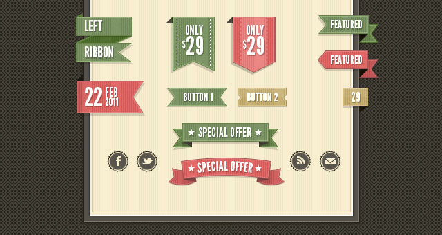 RETRO WEB RIBBONS VINTAGE PSD PACK by FreePSDDownload