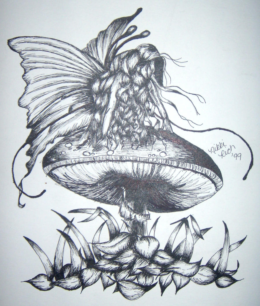 Mushroom fairy ink by nikki1182 on deviantart for Fairy on a mushroom drawing