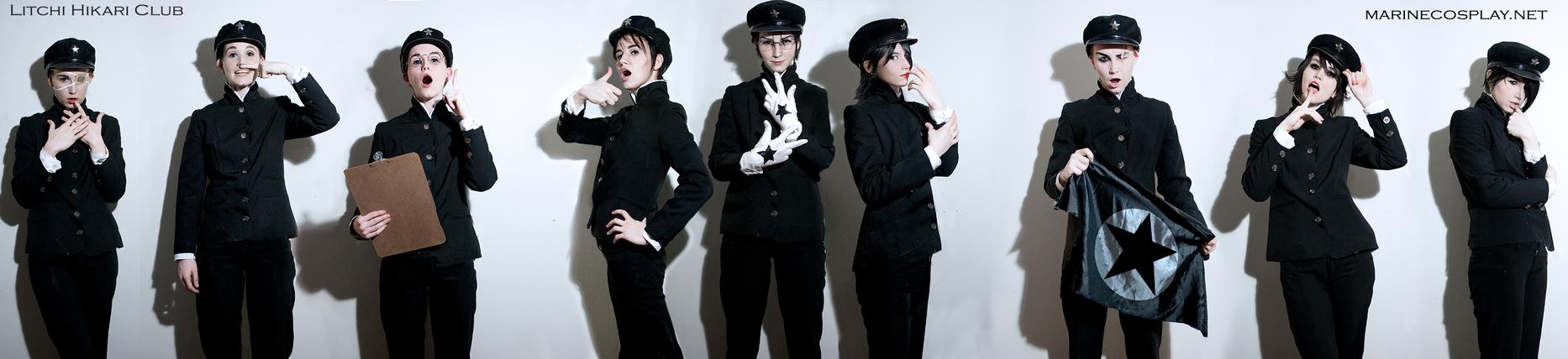 Litchi Hikari Club cosplay -whole group Makeup lab by marinecosplaybr