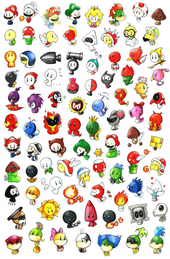 how to draw all super mario characters