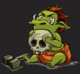 Baby orc with favorite toys