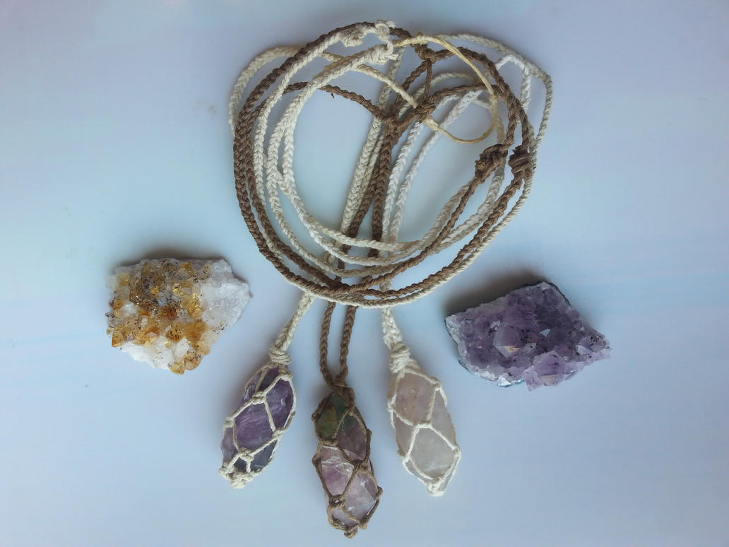 Fluorite Necklaces / Raw Stone Crystal Necklaces by TwinSocks