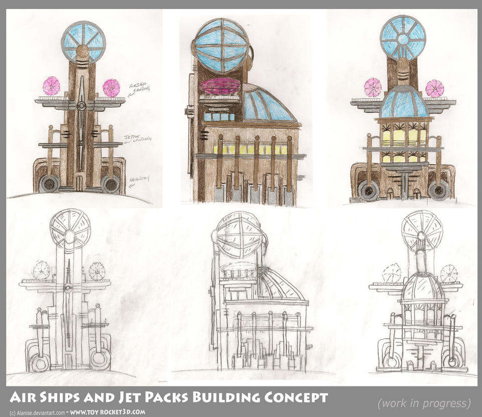 Air Ships - Jet Packs Concept by Alanise