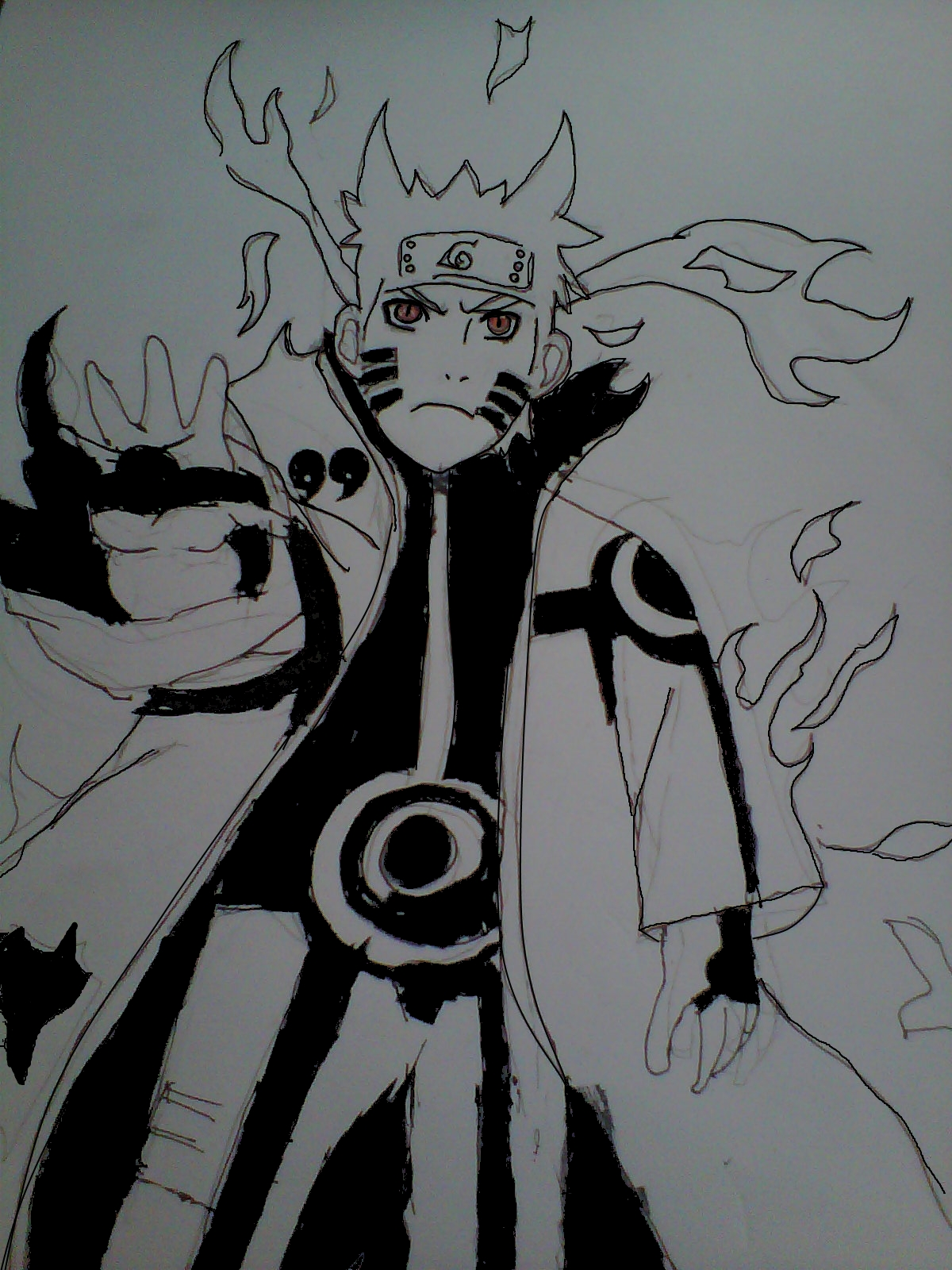 kcm(Kyuubi Chakra mode naruto) drawing by goldenfoxNaruto ...