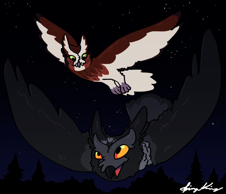 Cute Hoots (Art Trade with Noivurn and SheepShape) by ImHereToDie