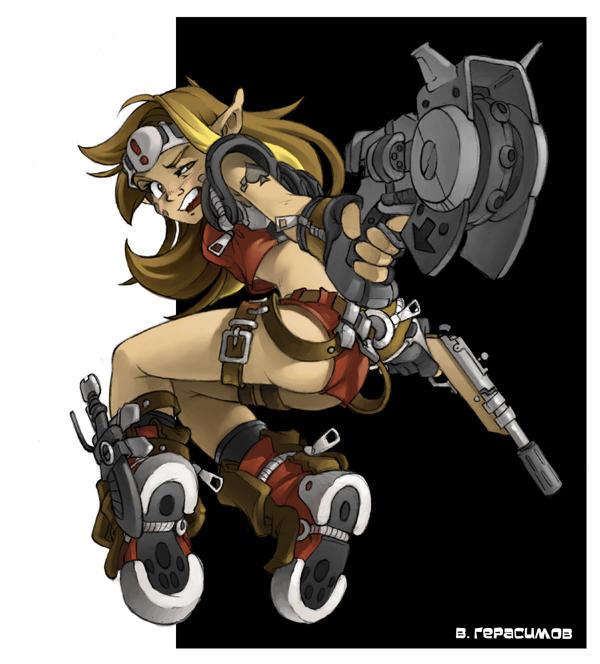 Gun girl by FullPlateMail