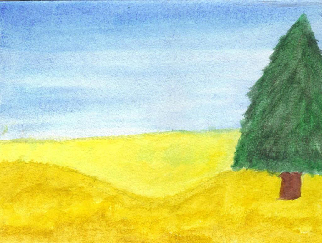 Failed Mini Landscape Watercolor Painting By PrincessxUndead