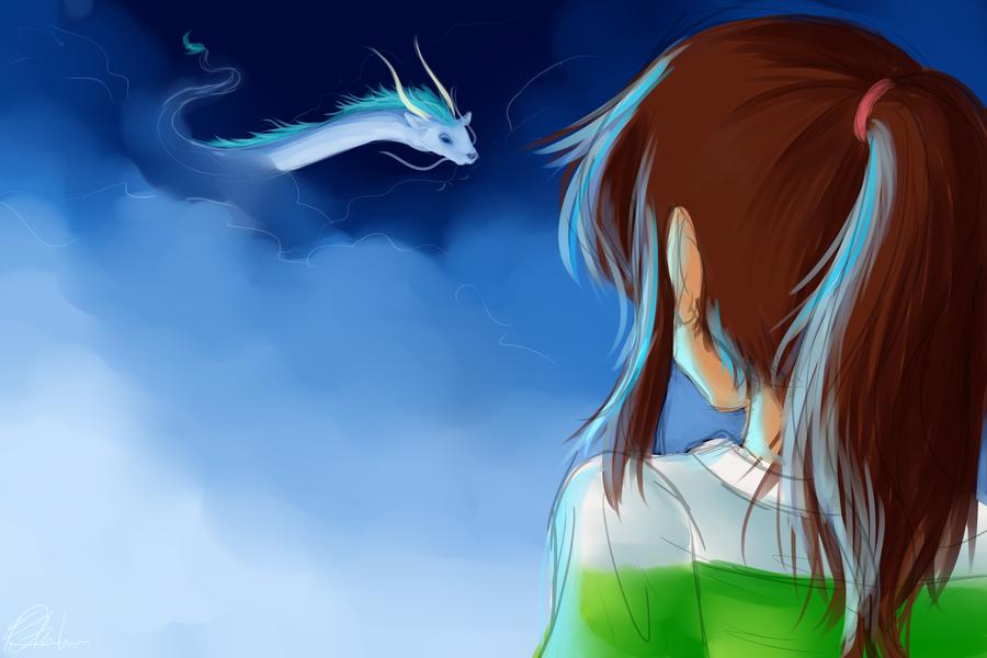 Chihiro and Haku by LeftyNinja
