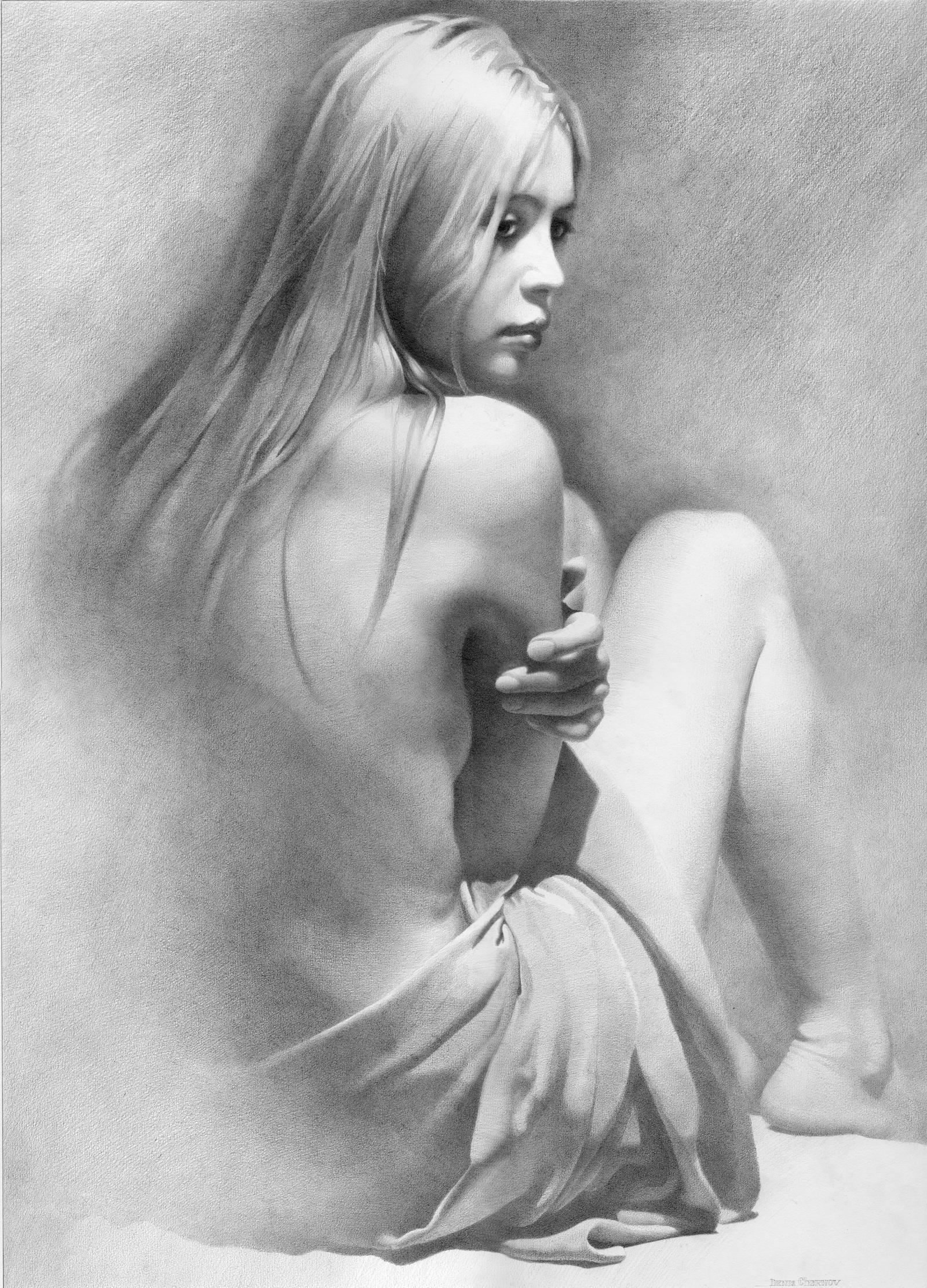 Рисованные девушки голые в карандаше 8 фотография
