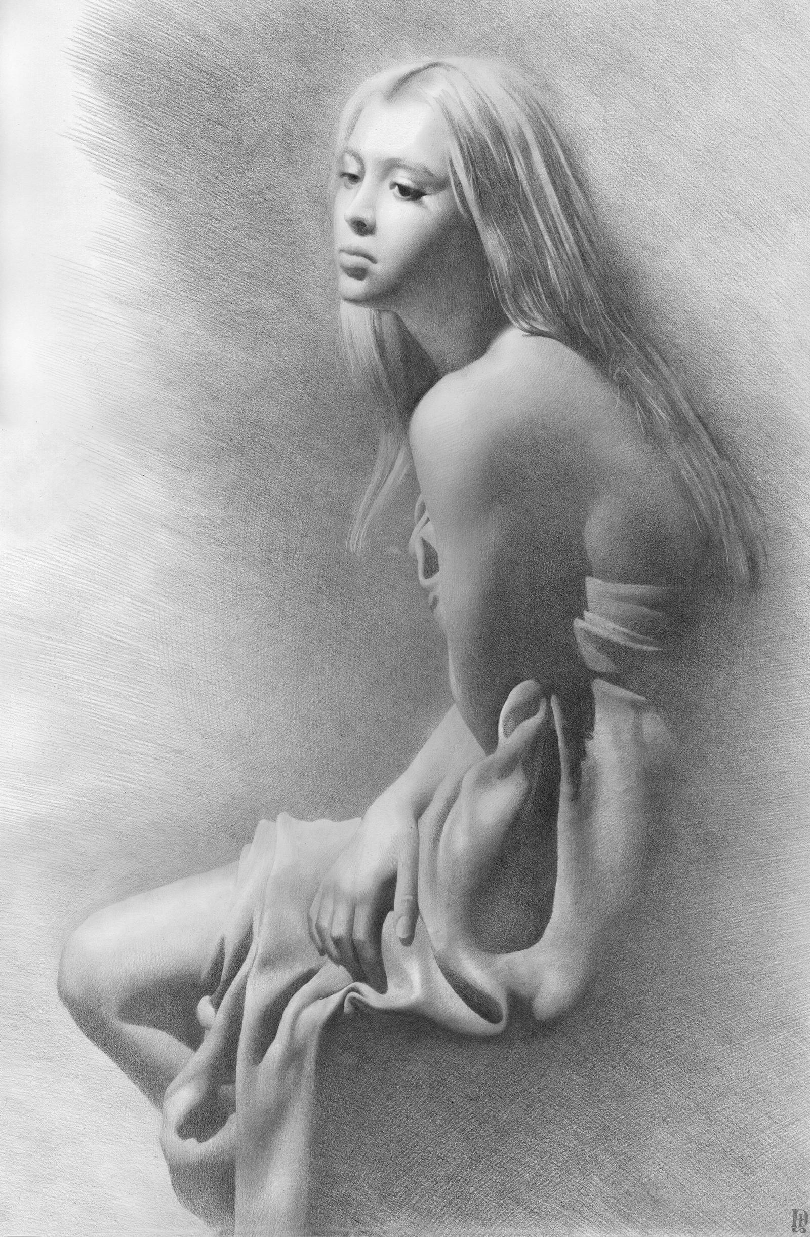 Рисованные девушки голые в карандаше 12 фотография