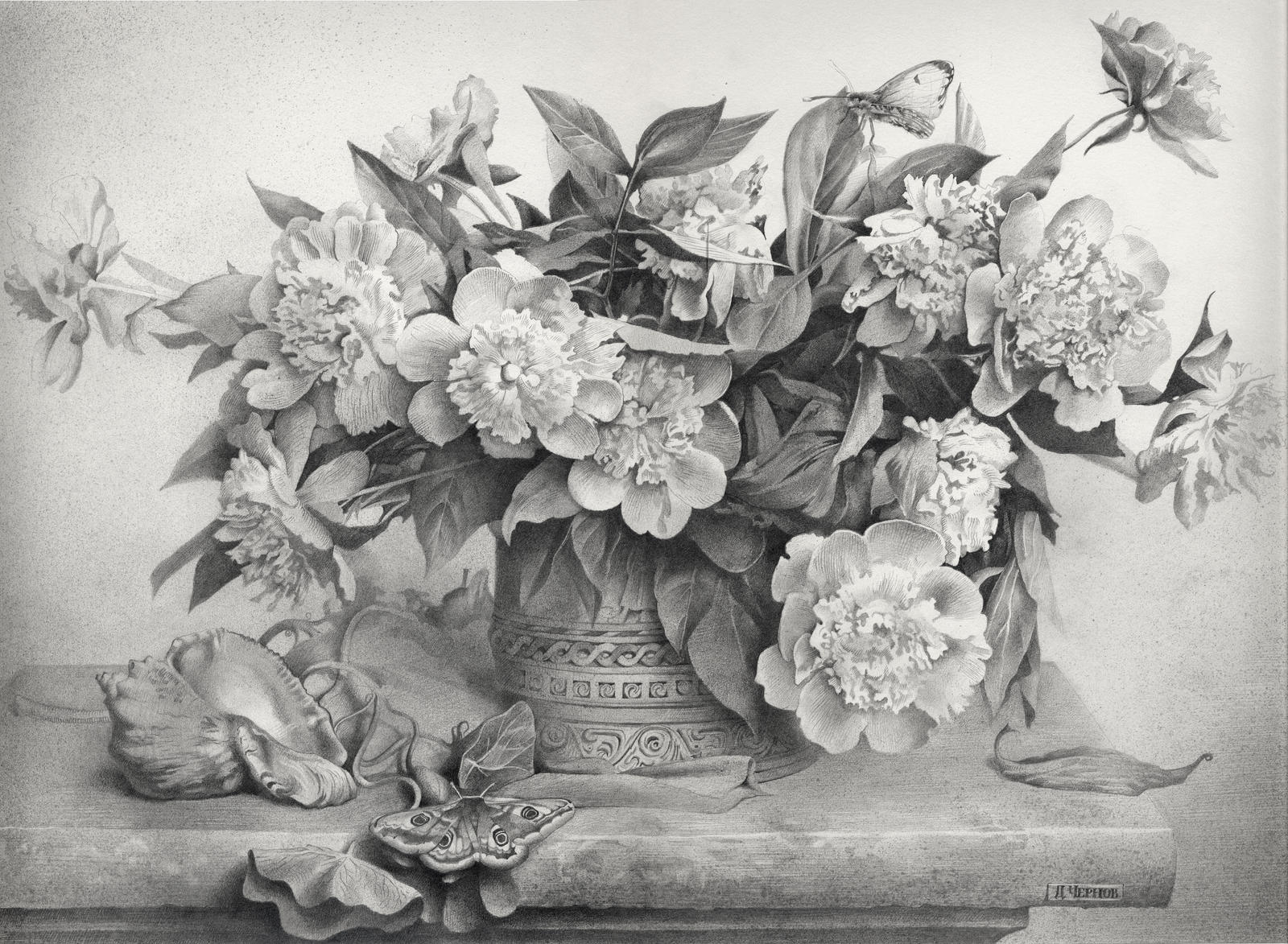 Black And White Shaded Flower Drawing