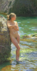 Nude model at the Rock Shore of the Black by DChernov