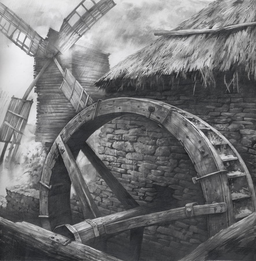 Watermill and Windmill by DChernov