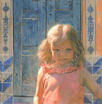 Mila against the Blue Wood Door