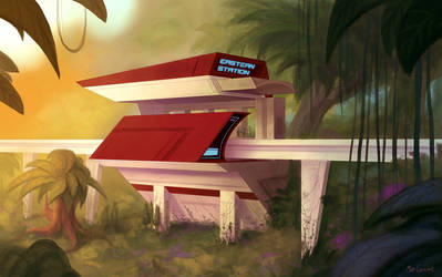 Monorail Station by Neanderthal-Jam