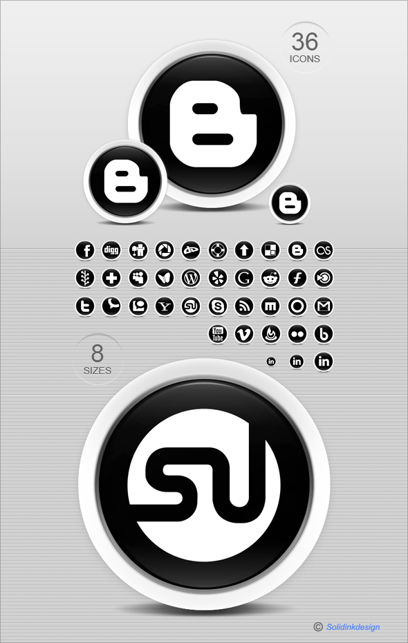 Black And White Social Icons by Solidinkdesign