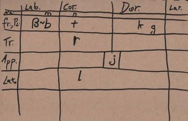 IPA chart of t'bak naming language