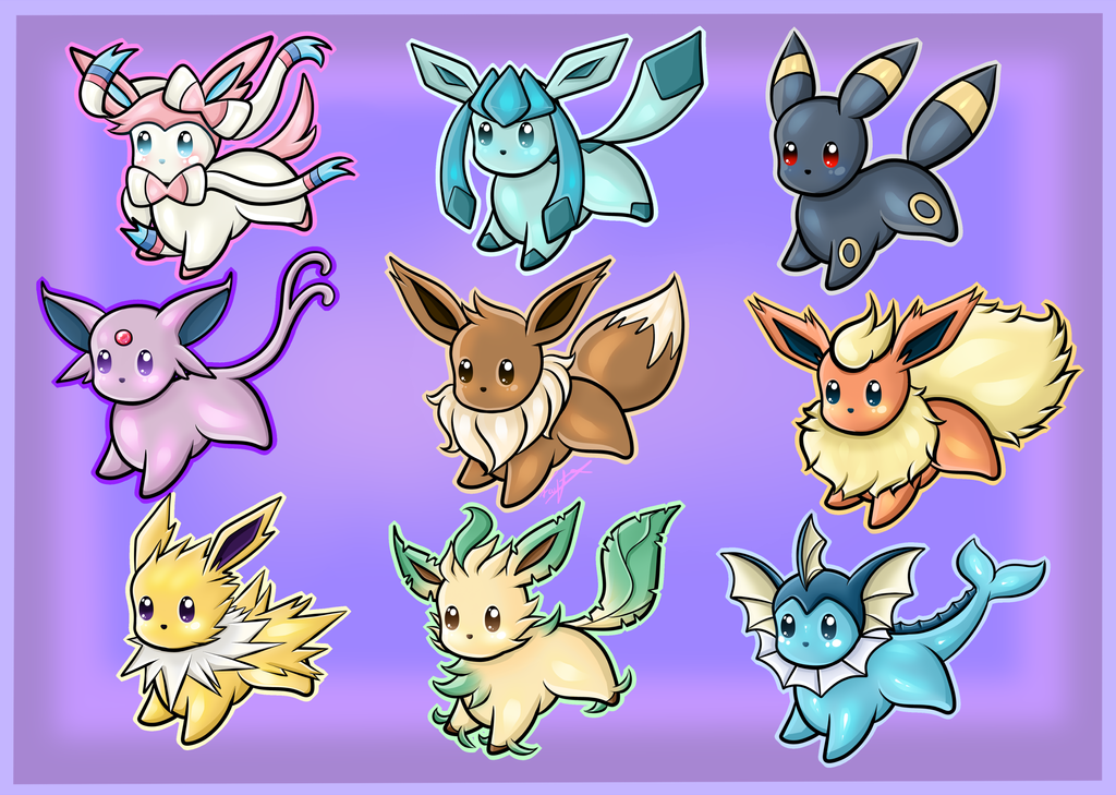 Eeveelution keyring designs by Blue-Fayt