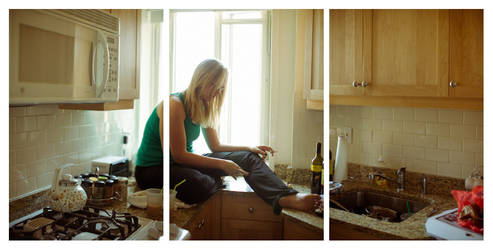 Kitty - Home alone Triptych
