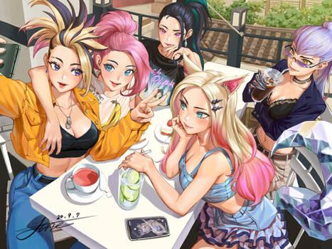 KDA fanart - Selfie at the cafe