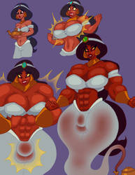 Jasmine's Genie Transformation, in colour by Admanios