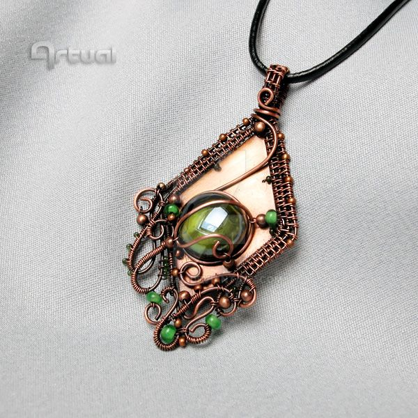 Wire wrapped pendant with green glass cabochon by artual on DeviantArt