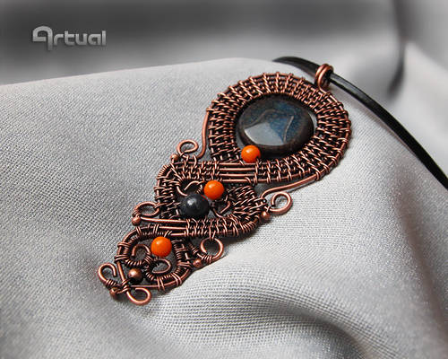 Wire wrapped copper pendant with agate bead