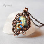 One of a kind wire wrapped Labradorite pendant