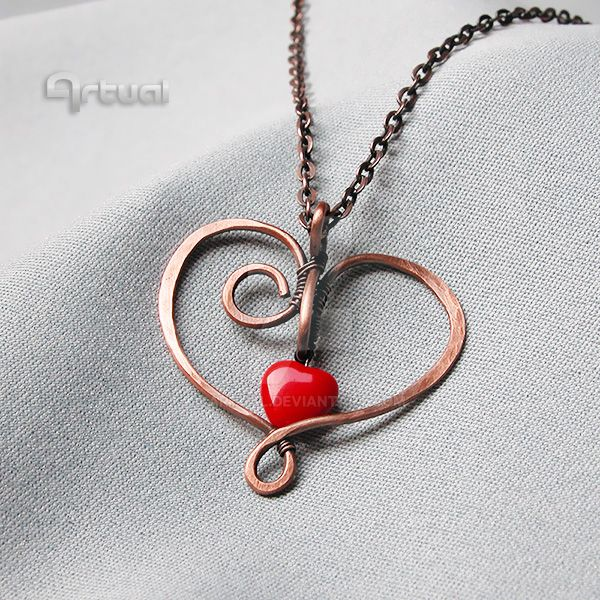 Hammered wire heart pendant by artual on DeviantArt