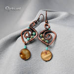 Copper wire earrings with shell coin beads