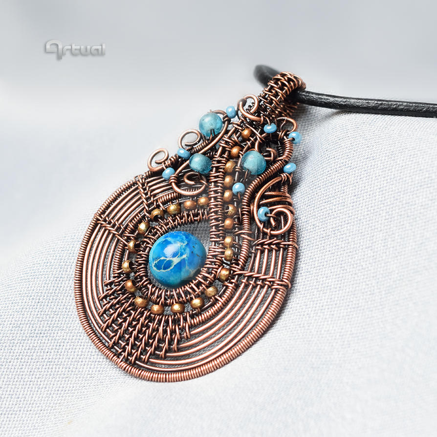 Wire wrapped copper boho pendant with blue Jasper by artual