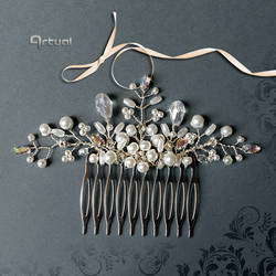 Bridal silver hair comb with pearls and crystals