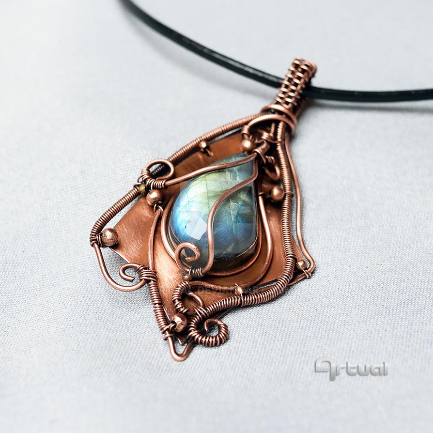Wire wrapped Labradorite pendant on copper sheet by artual on DeviantArt