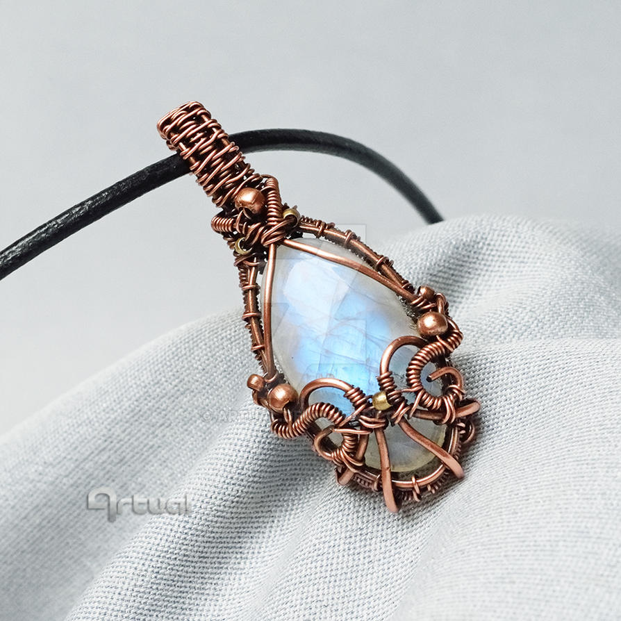 Wire pendant with Moonstone by artual on DeviantArt