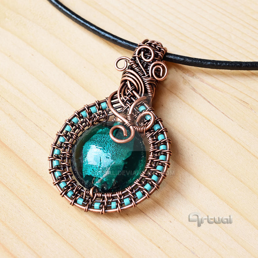 Wire wrapped boho pendant by artual