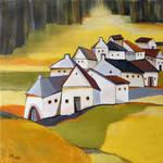 Village near the rapeseed field by artual
