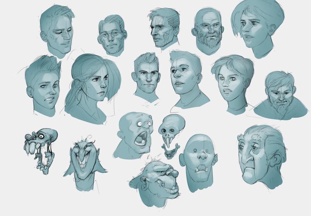 Telephone Sketches- Faces by yakonusuke